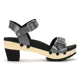 Mid Heel Ankle Platform Sandal | Comfort Sandal with Arch Support | Vegan | Made in USA