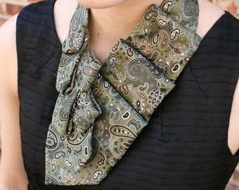 Women's Necktie Scarf - Necktie Necklace - Office Wear - Green Paisley Lauren Scarf. 23