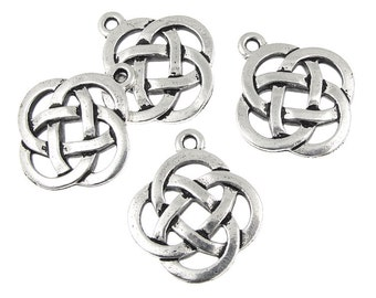 Celtic Circle Pendants - Antique Silver Celtic Charms - Open Knotwork Knot Work Pendants TierraCast  (P409)