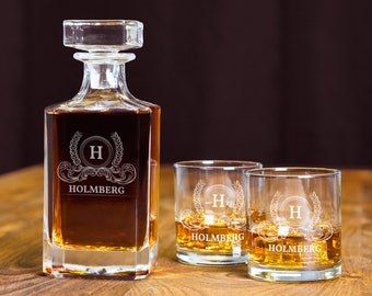 Engraved Decanter Set, Personalized Decanter Set, Custom Decanter, Whiskey Bourbon Decanter, Etched Rocks Glasses, Wedding Party Gifts