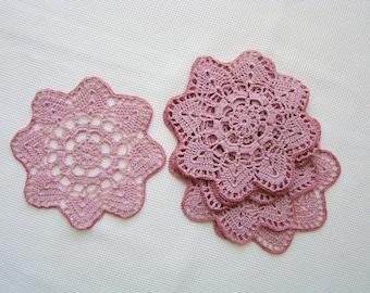 Lace doilies, doily set, doily, cotton doilies, pink doilies, table decor,