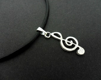 """A leather cord 13"""" - 14"""" tibetan silver treble clef musical note charm choker necklace."""
