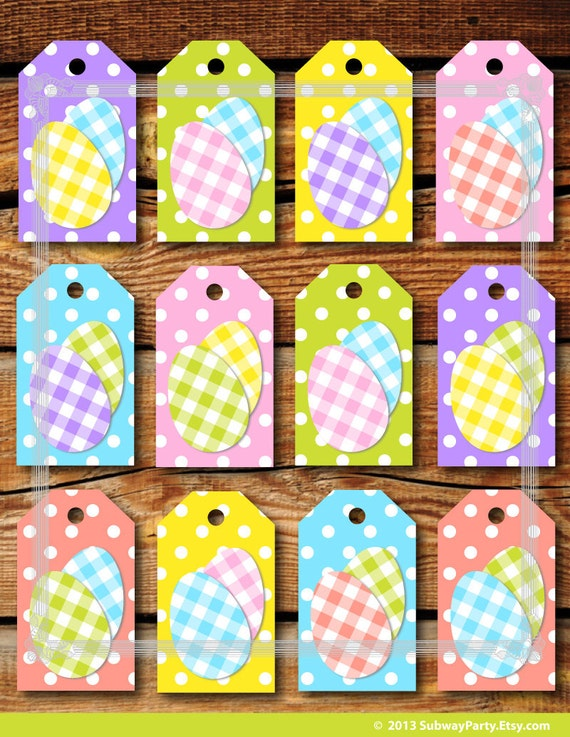 Printable easter gift tags cute polka dots and easter eggs in printable easter gift tags cute polka dots and easter eggs in pastel color gingham jpg instant download negle Gallery