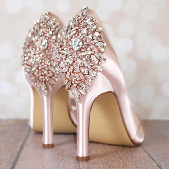 Wedding Shoes, Bridal Heels, Crystal Shoes, Blush Wedding Shoes, Blush Shoes  Crystal Heel, Crystal Heel Wedding Shoes, Blush Wedding