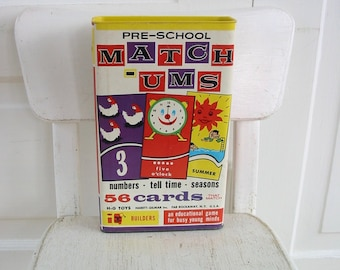 Vintage Match-Ums Game, Pre School Game, Home School, Learning Numbers, Telling Time, Education Game, Child Game, Flash Card, Matching Cards