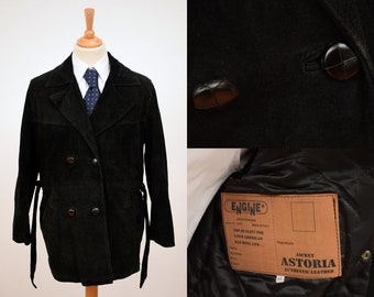 ENGINE Astoria Suede Leather Jacket mens size 44 Black Double Breasted