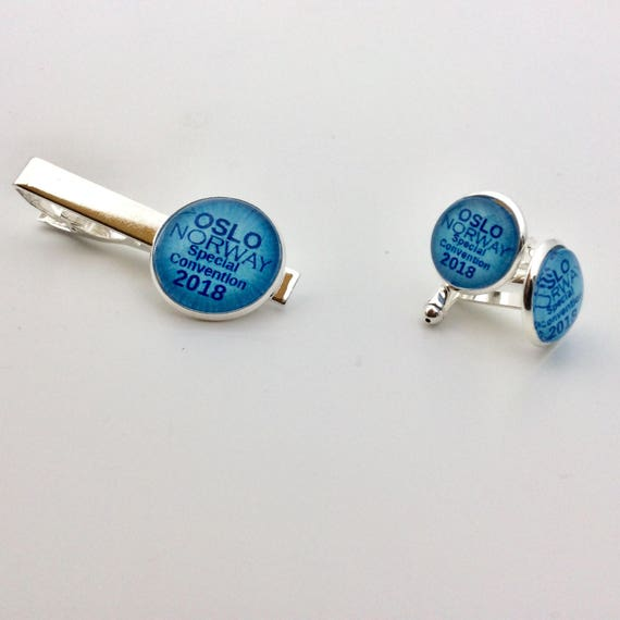 JW Oslo Norway 2018 Special Convention- Cufflinks /Tie bar Set 14mm Silver-tone and Glass.  Jw.org. Blue Velvet gift bag