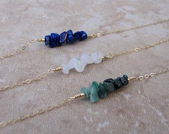 Emerald Bar Bracelet, Moonstone Bar Bracelet, Lapis Lazuli Bracelet, Rough Stone Bracelet, Gemstone Bar, Beaded Bar, Raw Stone Bracelet