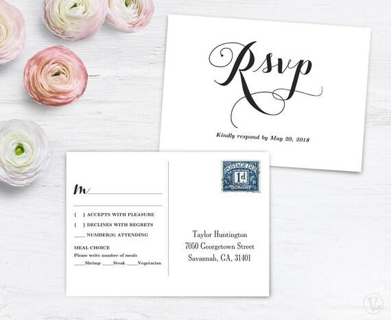 RSVP Postcard Template, Printable Wedding Postcard RSVP Card Template,  6x4.25 Inches, Editable, Fancy Script, VW04, VW12, VW13, VW14