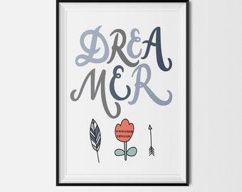 Dreamer Boy printable, Dreamer girl , Nursery Wall Art, Nursery Decor, Baby Shower Gift, Baby Girl Nursery, Baby Boy Nursery