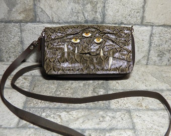 Wallet Purse Cross Body With Face Small Monster Harry Potter Labyrinth Brown Leather Detachable Strap Convertible 398