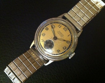 Men's PIERCE Watch, Pilot's WWII Swiss Watch, Rare Parashock, 17 Jewels Military Waterproof, Switzerland, Vintage Men's Works Great