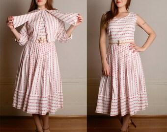 Vintage 1950s Dress & Blouse - Two Piece Novelty Print ROOSTER Dress - Rockabilly VLV - Medium