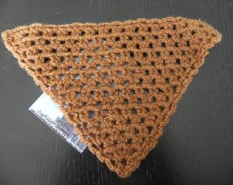 1 Brown doll hand knit shawl measuring 15 cm square