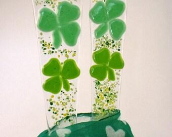 St Patricks day stained glass, Shamrock Plant Stake,St. Patrick's Day,Irish,Window Box, Garden Stake, Fused Glass