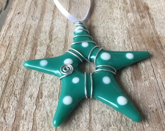 Star ornament - Teal star white polka dots
