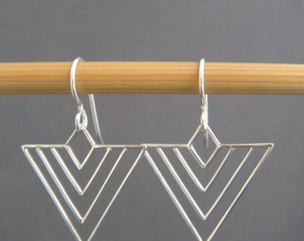 """sterling silver chevron wire earrings modern arrow drop small simple geometric jewelry intricate contemporary unique gift her women 1"""""""