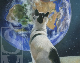 Cat on the Moon Original Oil Painting by Susan Van Sant 6x8 space cat ufo art