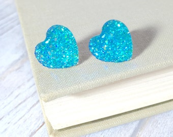 Faux Druzy Heart Earrings, Sparkly Earrings, Aqua Heart Earrings, Valentine's Earrings, Rock Star Jewelry, Stainless Steel (SE1)