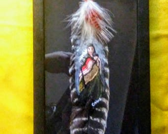 Hand painted Turkey feather
