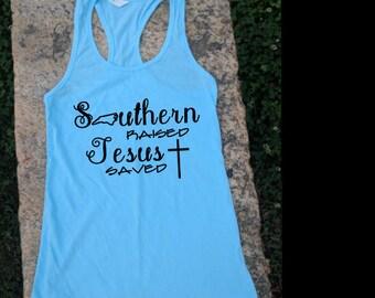 Southern Raised, Jesus Saved North Carolina Racer Back Tank top for women