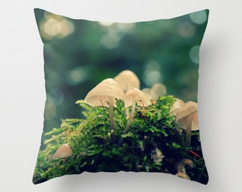 Forest Mushroms - Throw Pillow - Home Decor -  magic, photography, nature, bed, couch, home decor, OOAK gift