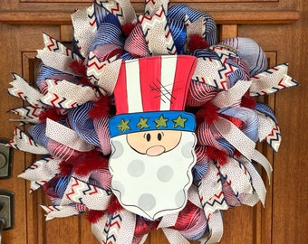 Uncle Sam, red white and blue patriotic wreath