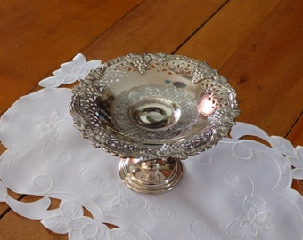Silver plated Pedestal Dish Grape pattern