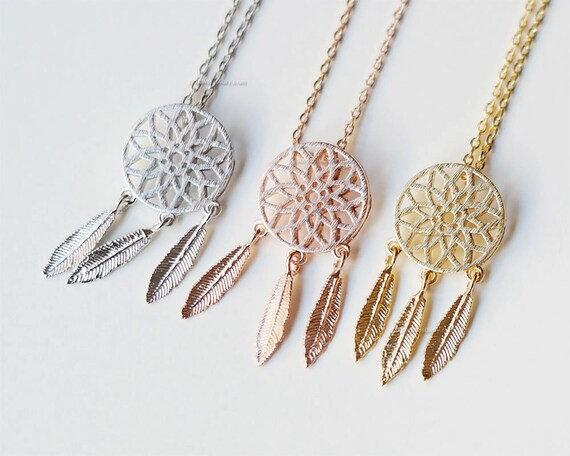 Rose gold dreamcatcher necklace dreamcatcher jewelry feather aloadofball Images