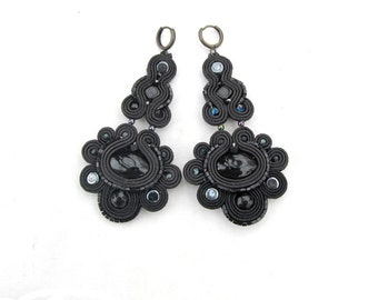Black Dangle Earrings, Long Chandelier Earrings, Soutache Earrings, Black Earrings, Long Earrings, Dangle Earrings, Chandelier Earrings