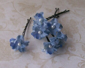 Blue Small Flower Hair Pins - Set of 6 Flower Bobby Pins