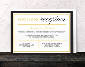Black Gold Reception Only Invitations - Modern design - Post-Wedding Reception - Printed Invitations