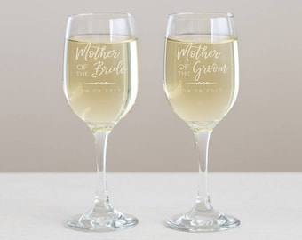 Personalized Mother of the Bride or Mother of the Groom Wine Glass: Engraved Mother of the Bride Groom Gift, SHIPS FAST