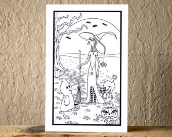 Witch, Cat, Ghost & Jack O Lantern Halloween Greeting Card Creatively Colored by You - Blank Inside, Holiday - Hand Crafted