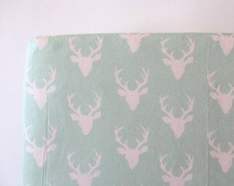 Mint Woodland Crib Sheet in Mint Buck - Buck Forest in Mint Ready to Ship