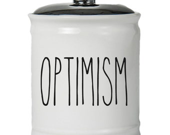 Optimism Word Jar With Lid - Money Coin Jar - Money Bank - Money Jar - Money Jar With Lid