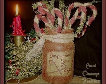 Primitive Folk Art Olde Tyme Peppermint Stix Candy Canes n Grubby Jar NO SEW E-Pattern