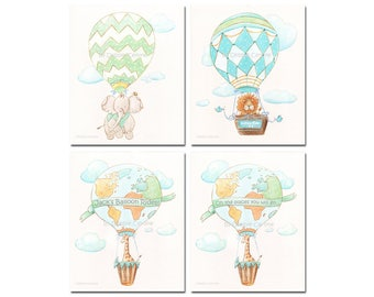 Air Balloon Wall Art Personalized Set Of 3 Watercolor Prints, Jungle Safari Baby Animals Travel Theme Nursery, Blue Green Baby Nursery Decor