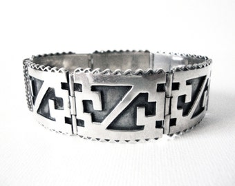 Vintage Sterling Silver Geometric Overlay Linked Bracelet Made In Mexico