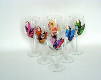 Wine glasses, multicolored, art of the table