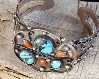STERLING CUFF NAVAJO Cuff~Native American Cuff Bracelet~Sterling Silver 925 Faux Turquoise/Red Glass~Southwest Boho Cuff~JewelsandMetals