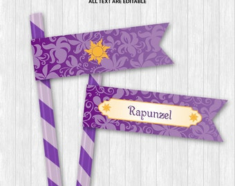 Rapunzel Straw Flags