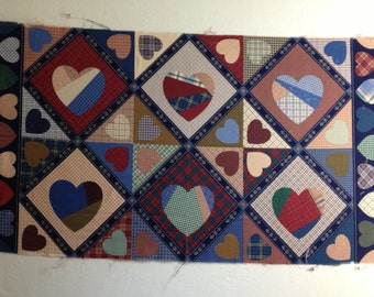 Vintage Fabric  - Cheater Squares with Hearts - Crantson Print Works - OOP
