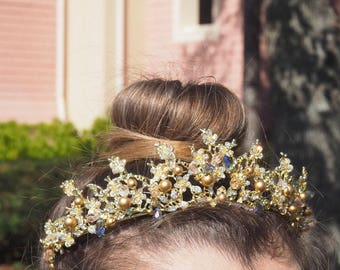 Belle Crystal Wedding Gold Tiara perfect for Disney Inspired Wedding or Princess