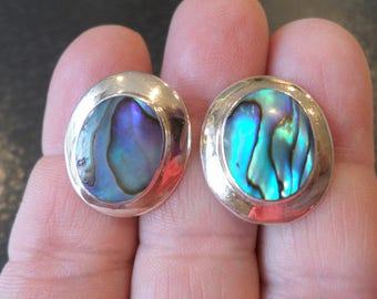 Sterling Silver 925 Stamped, Signed, Abalone Cabochon Earrings.