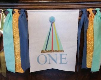 Party Hat Banner, Birthday Banner, First Birthday Garland, Party Hat Decoration, 1st Birthday Boy, High Chair Banner, Highchair Sign