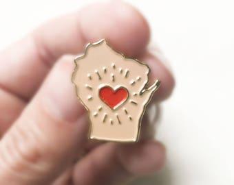 Wisconsin Enamel Pin, Pin Badge, Lapel Pin, Enamel Pin, Soft Enamel, Gold finish, Wisconsinite, I love Wisconsin, limited edition pin