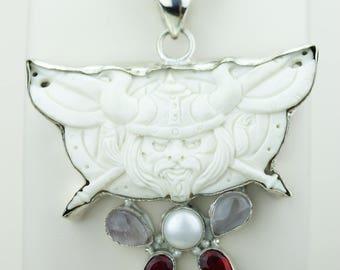Viking Mythology Norse God THOR TOTEM Goddess Face Moon Face Bone Carving 925 S0LID Sterling Silver Pendant + 4MM Chain p4323