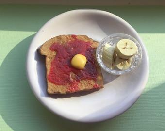 Strawberry Jam Toast Breakfast for 18 inch Dolls