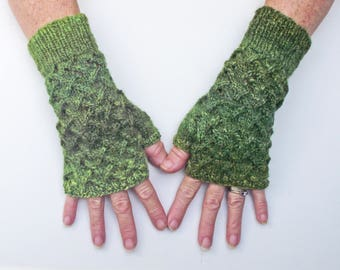 Knitted Green Fingerless Texting Gloves, Mitts or Wristwarmers, Handmade from Variegated Green Handspun British Yarn